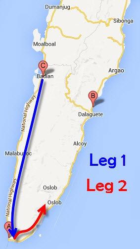 Kawasan to Oslob route