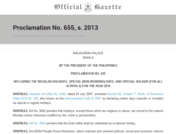 Official Philippine Holiday 2014