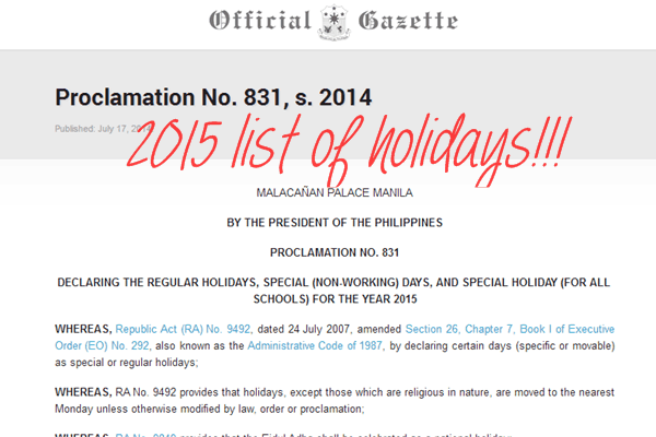 2015 LIST of Philippines Holidays